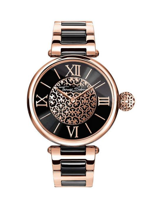 401475ceaf Thomas Sabo Karma Black Dial Rose Detail Bracelet Ladies Watch ...