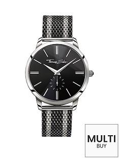 thomas-sabo-rebel-spirit-black-dial-black-striped-mesh-bracelet-mens-watchnbspplus-free-diamond-bracelet