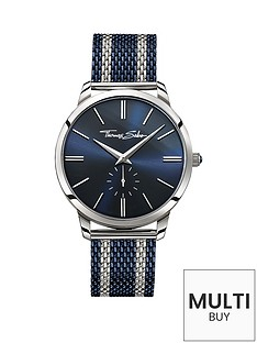 thomas-sabo-rebel-spirit-blue-dial-blue-striped-mesh-bracelet-mens-watchnbspplus-free-diamond-bracelet