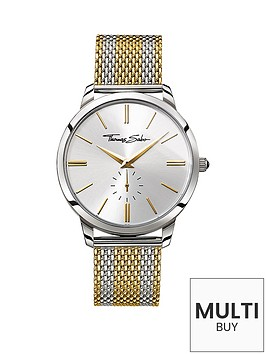 thomas-sabo-rebel-spirit-silver-tone-dial-two-tone-gold-mesh-mesh-bracelet-mens-watchnbspplus-free-diamond-bracelet