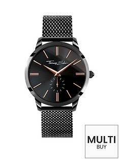 thomas-sabo-black-dial-rose-detail-black-mesh-bracelet-mens-watchnbspplus-free-diamond-bracelet