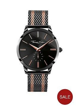 thomas-sabo-rebel-spirit-black-dial-rose-accent-rose-tone-striped-mesh-bracelet-mens-watch