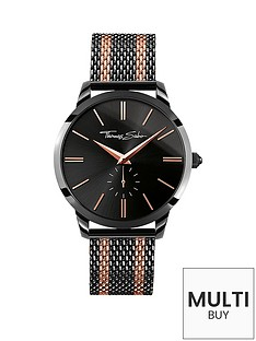 thomas-sabo-rebel-spirit-black-dial-rose-accent-rose-tone-striped-mesh-bracelet-mens-watchnbspplus-free-diamond-bracelet