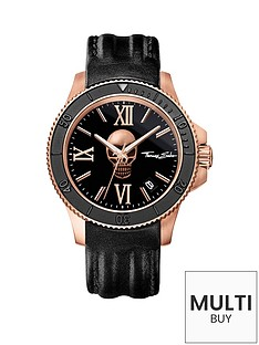thomas-sabo-rebel-icon-black-dial-rose-skull-leather-strap-mens-watchnbspplus-free-diamond-bracelet