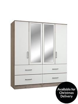 ashdown-4-door-4-drawer-mirrored-wardrobenbsp