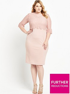 v-by-very-curve-double-layer-lace-top-and-sleeve-midi-dress