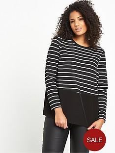 so-fabulous-striped-jersey-woven-panel-top-blackwhite