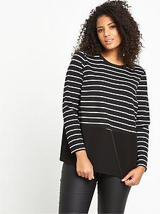 v-by-very-curve-striped-jersey-woven-panel-top-blackwhite