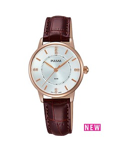 pulsar-pulsar-silver-tone-sunray-dial-rose-tone-case-brown-leather-strap-ladies-watch