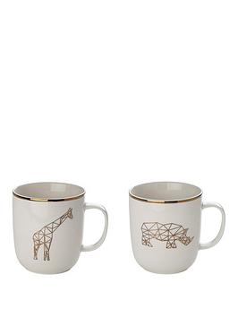 sabichi-set-of-2-giraffe-and-rhino-mugs