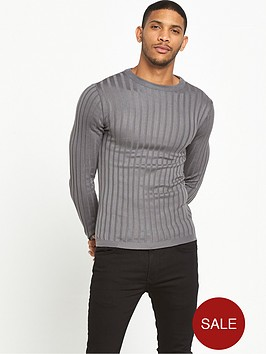river-island-muscle-fit-ribbed-jumper