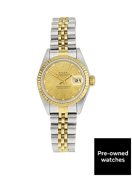 rolex-rolex-preowned-bimetal-datejust-champagne-dial-reference-69173-ladies-watch-including-papers