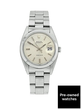 rolex-rolex-preowned-steel-oyster-perpetual-date-silver-baton-dial-reference-6694-mens-watch