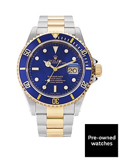 rolex-rolex-preowned-bimetal-submariner-blue-dial-amp-insert-reference-16613-mens-watch-including-paperwork