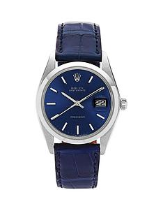 rolex-rolex-preowned-steel-oysterdate-blue-dial-blue-strap-reference-6694-mens-watch