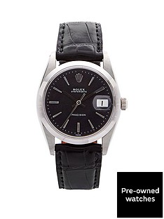 rolex-rolex-preowned-steel-oysterdate-black-dial-black-strap-reference-6694-mens-watch