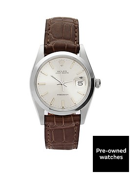 rolex-rolex-preowned-steel-oysterdate-silver-dial-brown-strap-reference-6694-mens-watch