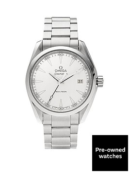 omega-omega-preowned-steel-seamaster-aquaterra-150m-silver-pinstripe-dial-reference-23110396002001-mens-wa