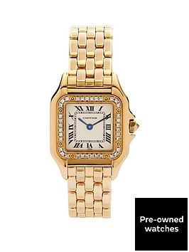 cartier-cartier-preowned-18k-yellow-gold-panthere-original-diamond-bezel-off-white-dial-black-roman-numerals