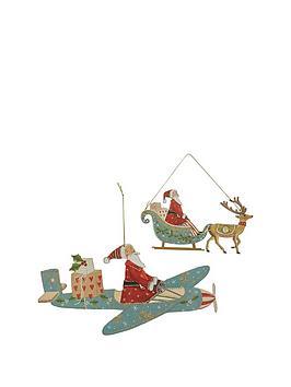 gisela-graham-set-of-2-flat-wood-santa-claus-christmas-tree-decorations