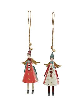 gisela-graham-set-of-2-forest-folk-tin-cone-angel-christmas-tree-decorations