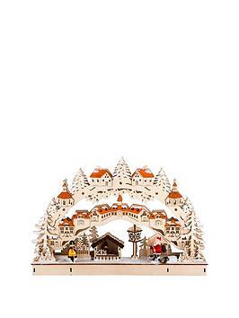 gisela-graham-wooden-fretwork-led-christmas-village-scene