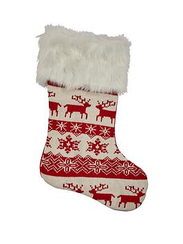 gisela-graham-red-amp-white-knitted-wool-scandinavian-stocking