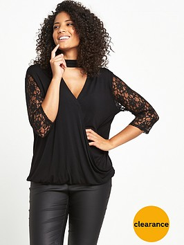 v-by-very-curve-lace-sleeve-wrap-top