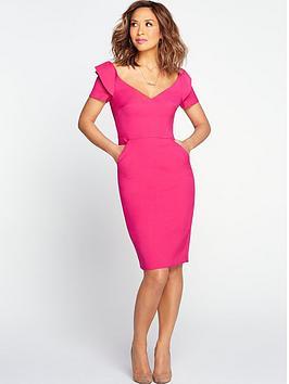 myleene-klass-origami-shoulder-pencil-dress-pink
