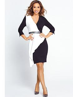 myleene-klass-asymmetric-frill-wrap-pencil-dress-monochrome