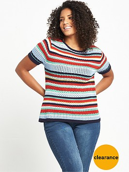 v-by-very-curve-short-sleeve-striped-knitted-t-shirt
