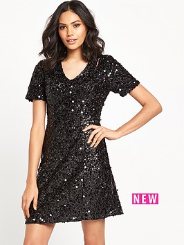 warehouse-sequin-flippy-dress-black
