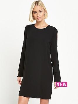 warehouse-diamante-button-sleeve-dress-black