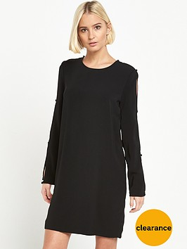warehouse-diamante-button-sleeve-dress-black