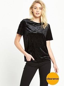warehouse-velvet-t-shirt-black