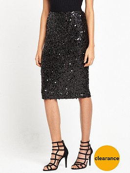 warehouse-sequin-skirt-black