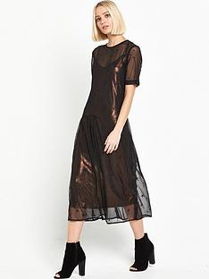 warehouse-star-embroidered-dress-blackgold