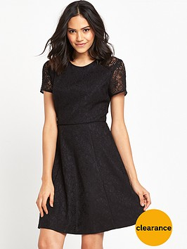 warehouse-bonded-lace-skater-dress-black