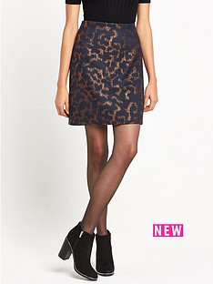 warehouse-camo-animal-jacquard-pelmet-skirt-navy