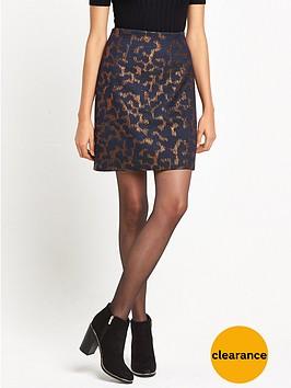 warehouse-camo-animal-jacquard-pelmet-skirt-navy
