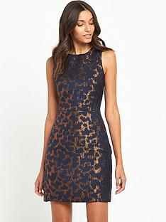 warehouse-camo-animal-jacquard-dress