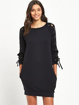 miss-selfridge-lace-up-sleeve-sweat-dress-black