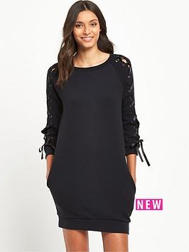 miss-selfridge-lace-up-sleeve-sweat-dress-black