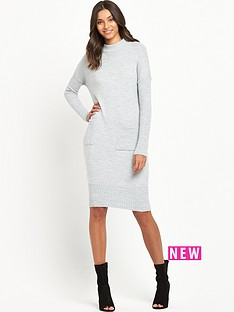 miss-selfridge-slouchy-pocket-dress-grey