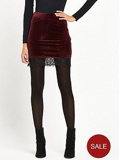 miss-selfridge-velvet-lace-hem-skirt-burgundy