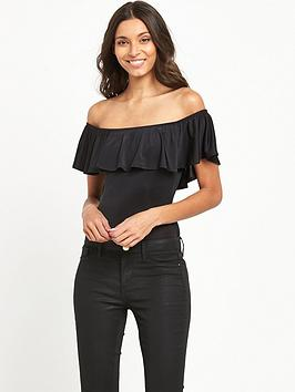 miss-selfridge-slinky-ruffle-body-black