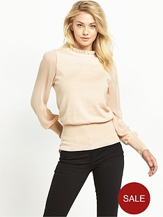 oasis-chiffon-sleeve-frill-knit