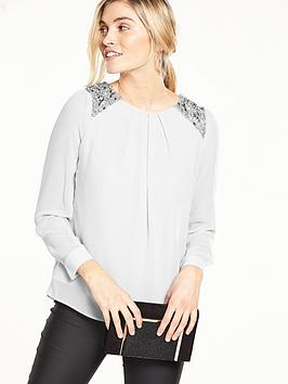 wallis-embellished-chiffon-top
