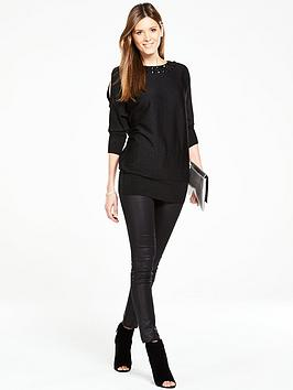 wallis-wallis-gem-neck-cold-shoulder-tunic-black
