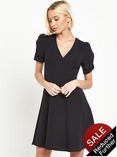 miss-selfridge-bow-sleeve-dress-black